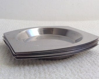8 Vintage Modernist Stainless Nut Dishes. 1960's Stainless steel,  made in Italy.  Mod, Mid century, Danish Modern, Eames era.