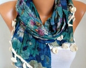 Floral Cotton Scarf,Teacher Gift, Fall Shawl,Pareo,Beach Wrap,Birthday Gift,Cowl Multicolor Gift Ideas For Her Women's Fashion Accessories