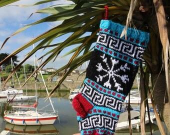 Small Christmas Holiday Knitted with Snowflake Fair Isle knit Decorative Xmas Handmade Ornament Knit Sock - ready to ship SBR