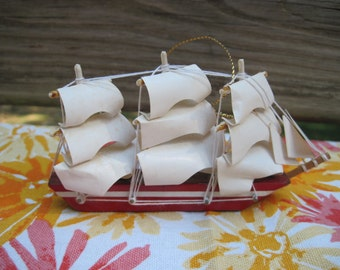 Vintage Clipper Ship Wooden Christmas Ornament Nautical 1980s