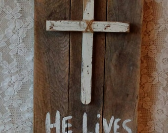Rustic Pallet Board, He Lives, Cross, Wall decor, Pallet Art, Farmhouse,Old Rugged Cross, Christian Art, Rustic Cottage,Home decor