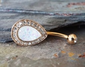 Rose Gold Opal Belly Button Rings White Opal