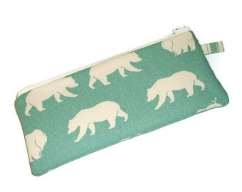 Polar Bears Pencil Pouch - StockingStuffer- Gift Under 15