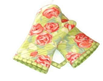 Oven Mitts- PAIR of Floral Oven Mitts - Tangerine and Green -Gift for Foodie