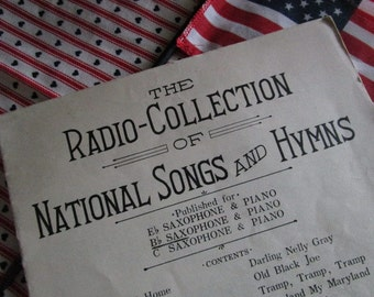 Vintage Sheet Music, Radio Collection of National Songs and Hymns for Saxophone and Piano, Ephemera