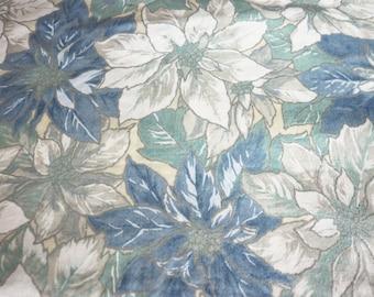 Blue & White Poinsettias Fabric New By The Fat Quarter BTFQ