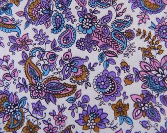 1960s Floral Fabric ... 60s Material Remnant ....Cotton Lavender Floral and Paisley ... 3 Yards