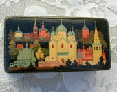 Small Russian Treasure Box, hand-painted, lacquered wood, famous churches of Russia, collectible box, gift box