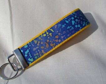 Keyfob wristlet / key chain /blue batik/fabric key fob