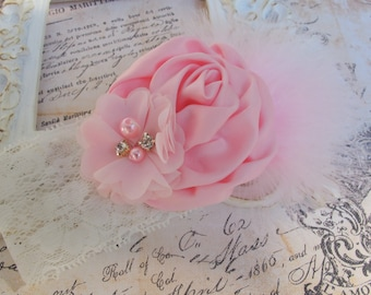 Baby Headband / Baby Girl Headband / Newborn Headband / Headband / Flower Headband / Infant Headbands / Flower Girl Headband / Pink Headband