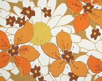 Retro Wallpaper by the Yard 70s Vintage Wallpaper - 1970s Orange and Brown Flowers with Large White Daisies