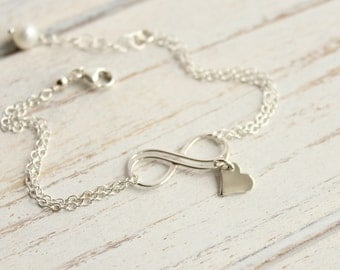 Sterling Silver Infinity Heart Bracelet -- Smaller Fancy Infinity Wave Love -- Bridesmaids Gift