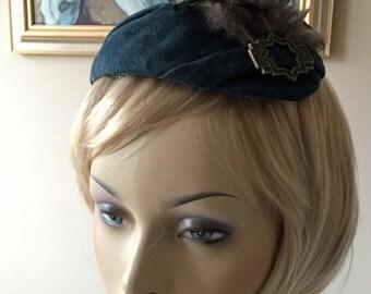 Woman's Hat, Woman's Fascinator,  Green Fascinator, Suede fascinator, Fall Fascinator, Winter Fascinator, Art Deco fascinator