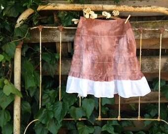 funky mori gypsy boho prairie hand dyed brown mocha anthropologie like chocolate cotton lace awesome boho fairy ooak lace barn country skirt