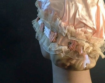 peach spring apricot bride satin silk lace boudoir bed headpiece anthropologie like cap