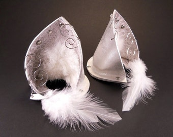 Cloud Fox Silver White Pearl Leather Jeweled Fox Wolf Ears Inumimi Kitsune Fairy Cosplay Furry Goth Fantasy LARP Costume Pet Play