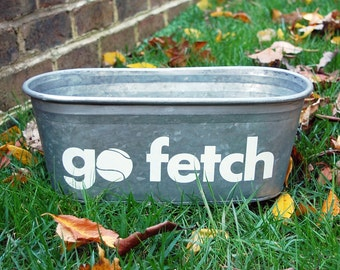 Go Fetch Galvanized Tub - decorative container for pet storage & organization