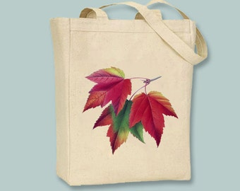 Vintage Autumn Maple Leaf Illustration Canvas Tote -  Selection of sizes available