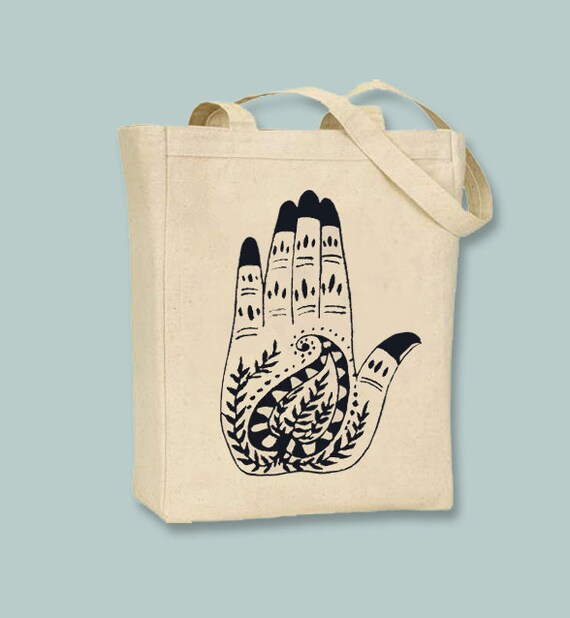 Mehndi Henna Hamsa Hand 2 Canvas Tote - Selection of  image colors and sizes available