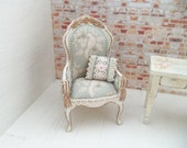 Doll House Miniature chair...shabby chic/french country style...OOAK...artisan