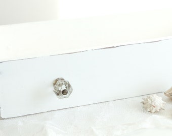 Vintage Wooden Drawer With Glass Knobs - Shabby Chic White - Vintage Farmhouse Decor