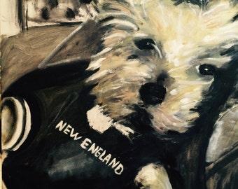 Ryan's Girlfriend's Pooch  Original Oil Painting by Marlene Kurland  18 x 24