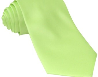 Men's Solid Lime Green Big & Tall Extra Long Necktie, for Formal Occasions