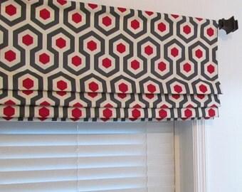 Custom Faux Roman Shade Lined Mock Valance Gray/Red/Beige Magna Timberwolf Geometric Modern Pattern