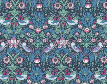 "Liberty Tana Lawn fabric STRAWBERRY THIEF - 17"" wide x 13"" (43cm x 33cm) - blue, pink"