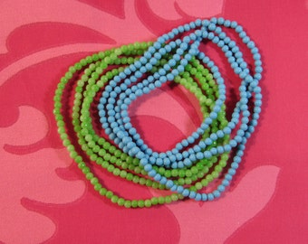 "1960's Glass Bead Lime Green and Turquise Blue Necklaces 17 1/2"" Long Each"