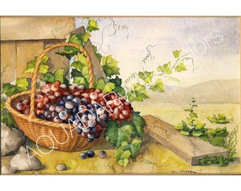 """READY TO SHIP Original Watercolor Painting Still Life with Basket of Grapes Modern Wall Art Home Decor Kitchen Decor Framed 12"""" x 15"""""""