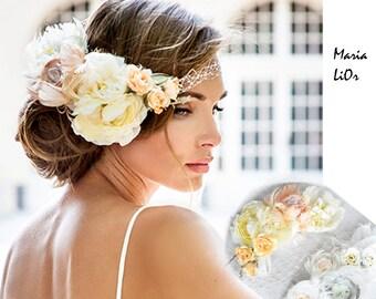 new bride hair jewelry collection. Bandeau style birdcage veil. Vintage style bridal veil.  Pink ivory flower veil.  Royal Wedding