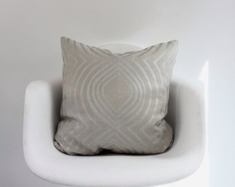 "Aya Contour 20x20"" pillow cover in metallic blush pink hand printed on greige hemp"