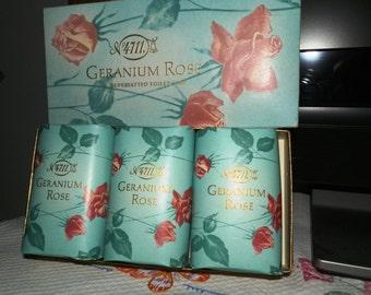 Vintage No 4711 Geranium Rose Soap-3 Bars Mint in Box