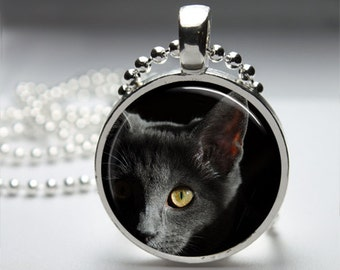 Gray Cat Russian Blue Round Pendant Necklace with Silver Ball or Snake Chain Necklace or Key Ring