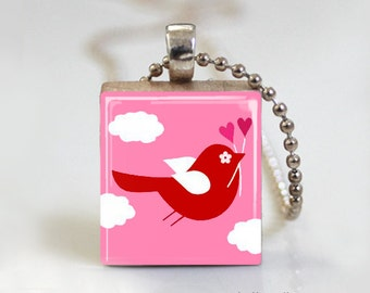 Pink Love Birds - Scrabble Tile Pendant - Free Ball Chain Necklace or Key Ring