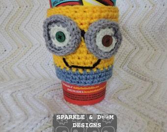 Minion Cup Cozy, mug wrap sleeve crochet handmade ready to ship Despicable Me