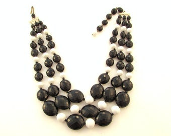 SALE Black and White Multi Strand Beaded Bib Necklace - Mid Century - West Germany