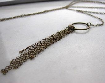 Tassel Necklace, Long necklace, Antique Bronze, Layering necklace, Long Tassel necklace