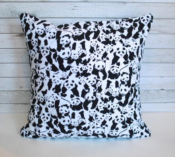 Panda pillow. Black and white decorative pillow cover. 20x20