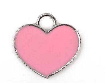 4 Silver Metal Enamel PINK HEART Charms or Pendants, 18x18mm, che0516