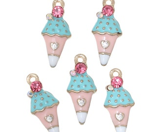 5 ICE CREAM CONE Gold-Plated Rhinestone Metal Charm Pendants, Blue Pink and White Enamel, che0509