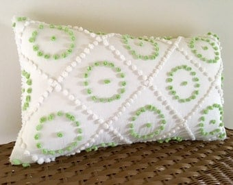 Green chenille pillow cover, 12 x 20, spring green circles pillow, cottage chic cushion, shabby style porch pillow, geometric textured sham
