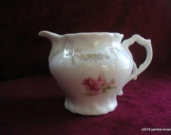 Vintage Bavarian Creamer With Pink Rosebuds Cottage Chic Home Decor