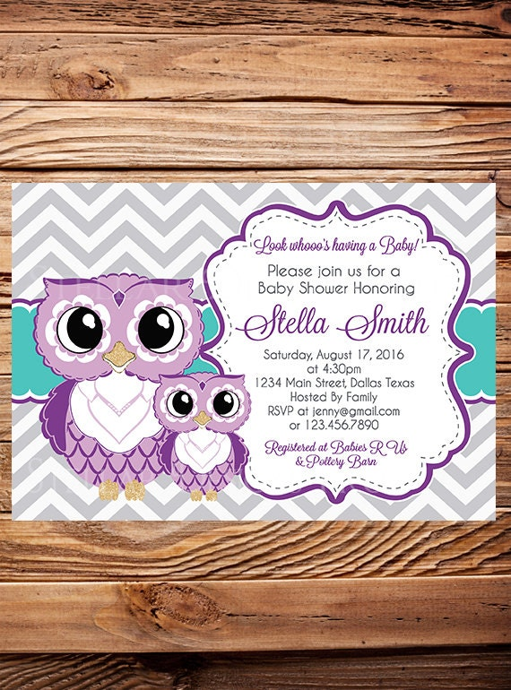 purple owls baby shower invitation purple and teal cute owls baby