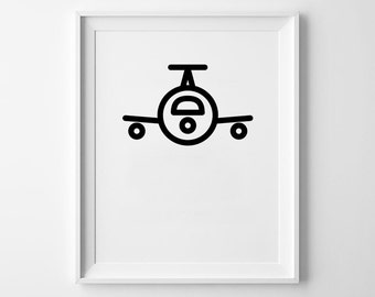 Plane Print, Flying Wall Art, Airplane, Geometric Prints, Black and White, Wall Decor, Minimalist, Icon Poster, Travel