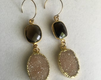 Sparkling Natural Agate Druzy and Smokey Topaz Earrings