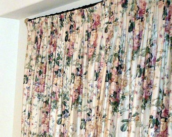 "Rose Chintz Drapes. 2 Panels. 108 wide x 93 length. (54"" each)"