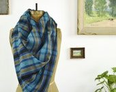 Plaid Blanket Scarf Wrap Thick Brushed Cotton Fringed Edges Turquoise, Blue, Russet Brown, Black