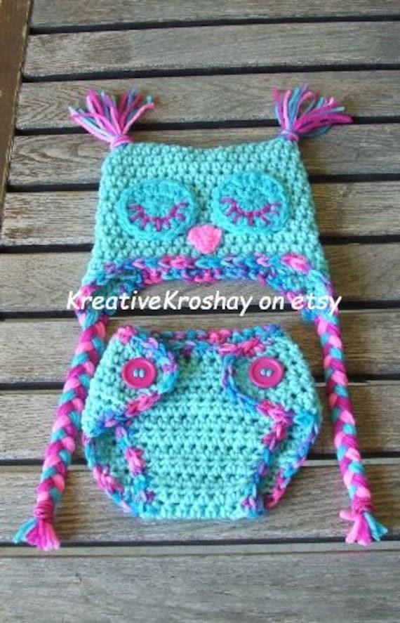 "Sleepy ""Cotton Candy"" Owl Diaper Cover & Hat Set  (Newborn - 3 months)"